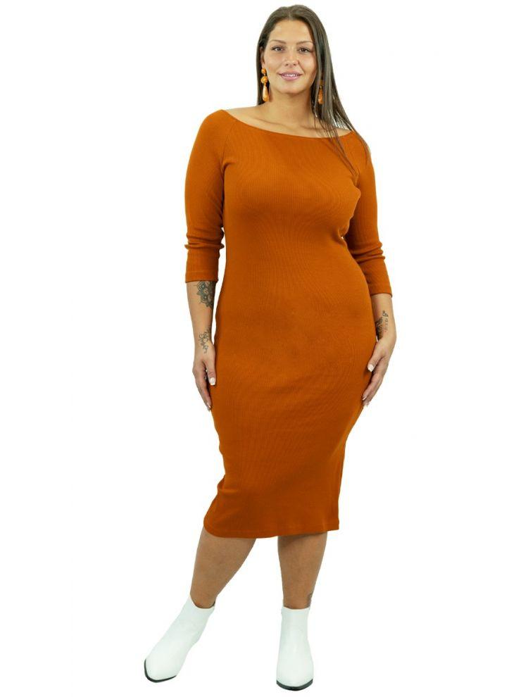 Bodycon Ριπ φόρεμα με bardot ώμους