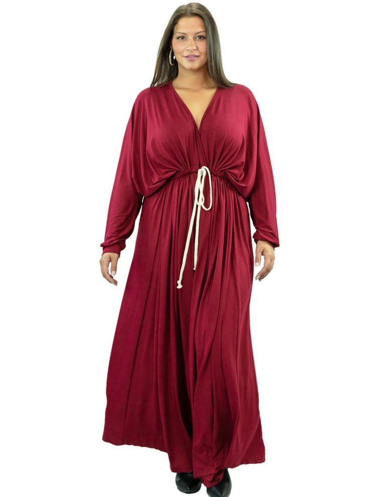 Μάξι Μονόχρωμο Φόρεμα με Σούρα στην Μέση-OneSize(up to 2XL)-Μπορντό