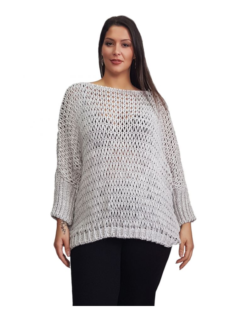 Oversized Μονόχρωμη πλεκτή μπλούζα -NAIRA -γρι