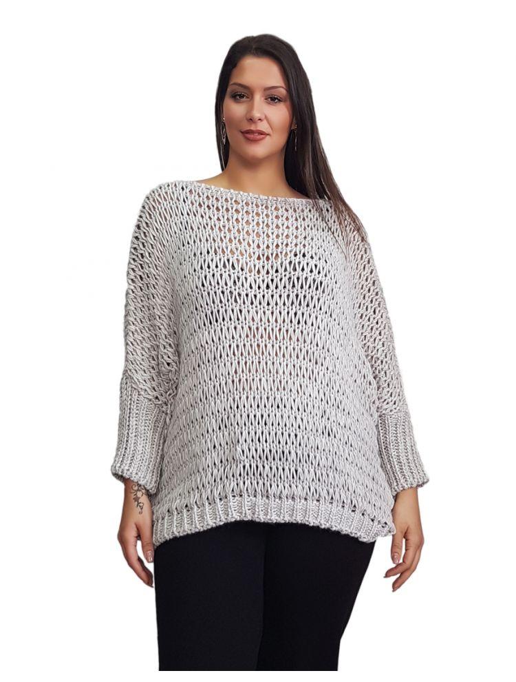 Oversized Μονόχρωμη πλεκτή μπλούζα -NAIRA -γρι-OneSize upto 3XL