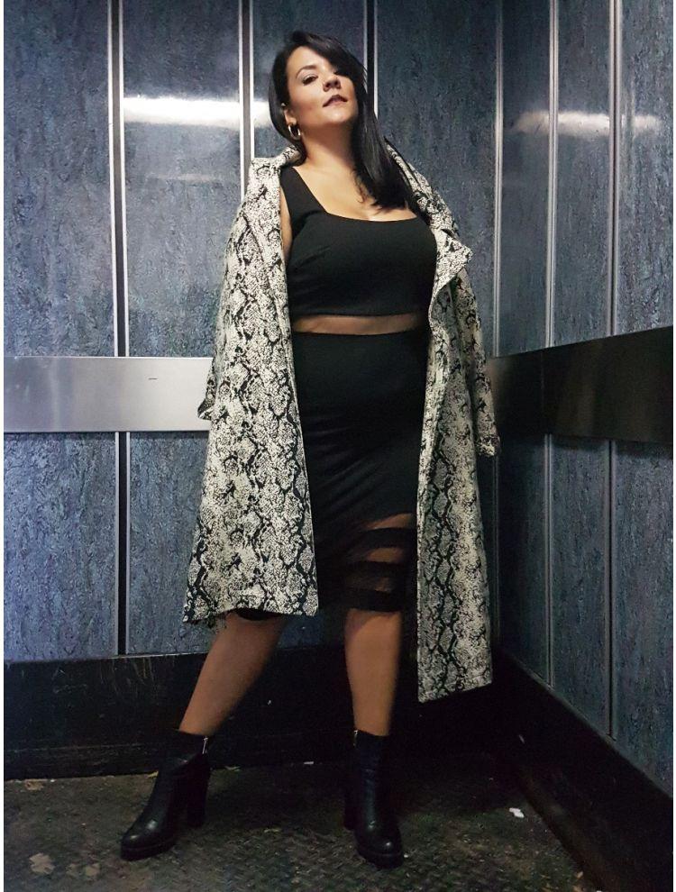 Lux Plus Size  Ζακάρ Παλτό Croco με τσέπες και ζώνη -OneSize upto 3XL