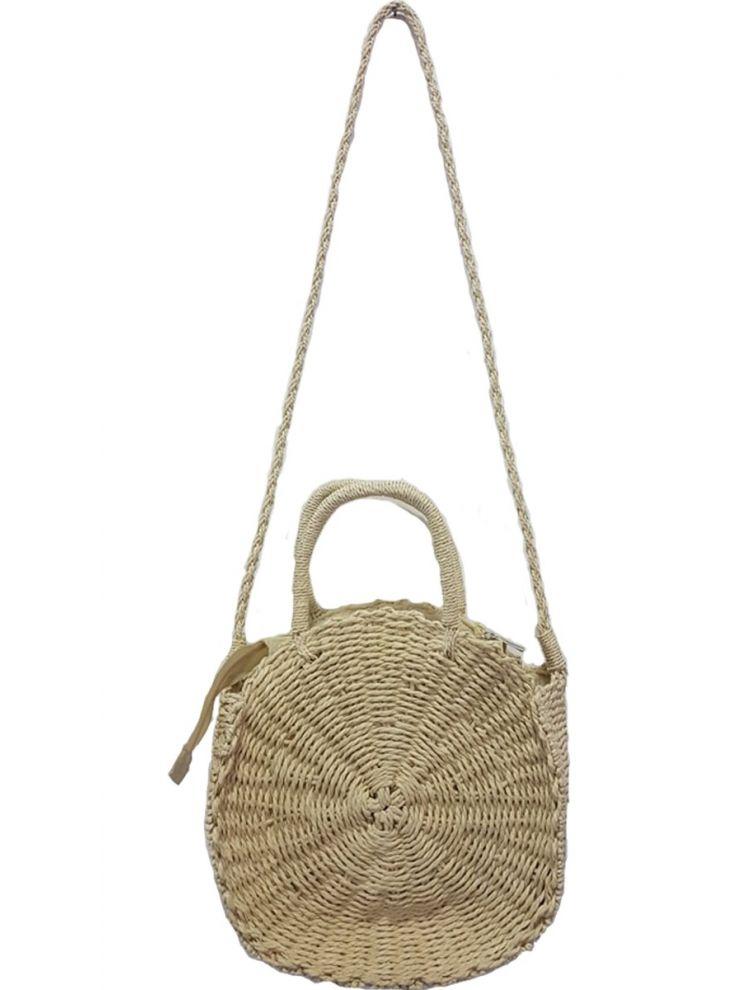 Στρογγυλή Τσάντα Ψάθινη