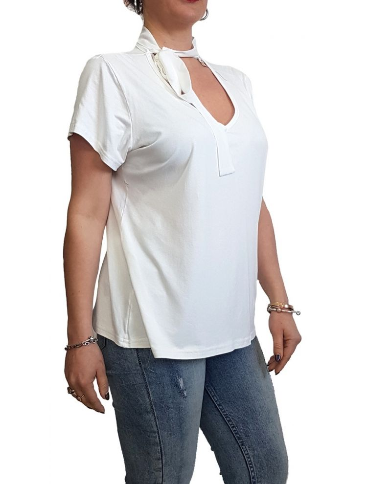 Μπλούζα με Δέσιμο στον Λαιμό-Άσπρο-One Size(up to L/XL)