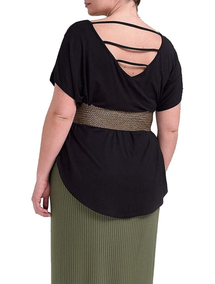 Basic Top με Cut Out στην Πλάτη-One Size(up to 2XL)-Μαύρο