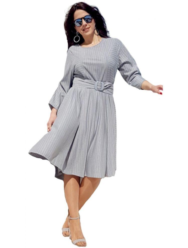 Ριγέ Κλός Ασσύμετρο Φόρεμα NADIA-Γκρι-L/XL