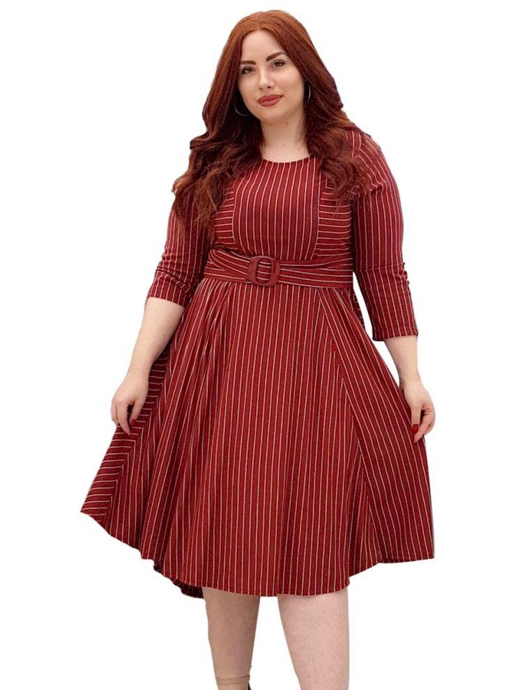Ριγέ Κλός Ασσύμετρο Φόρεμα NADIA-Μπορντό-M/L