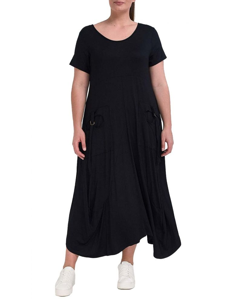 Maxi Μονοχρωμο Φόρεμα με τσέπες μπροστά