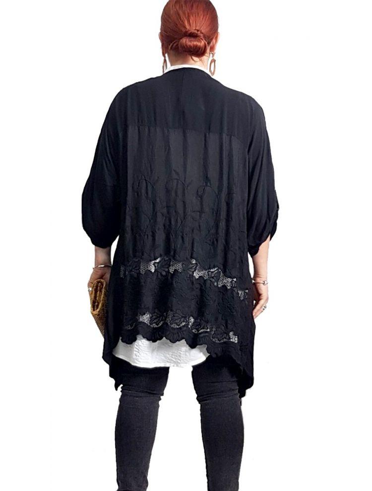 Ζακέτα με δαντέλα-Μαύρο-One Size(up to L/XL)