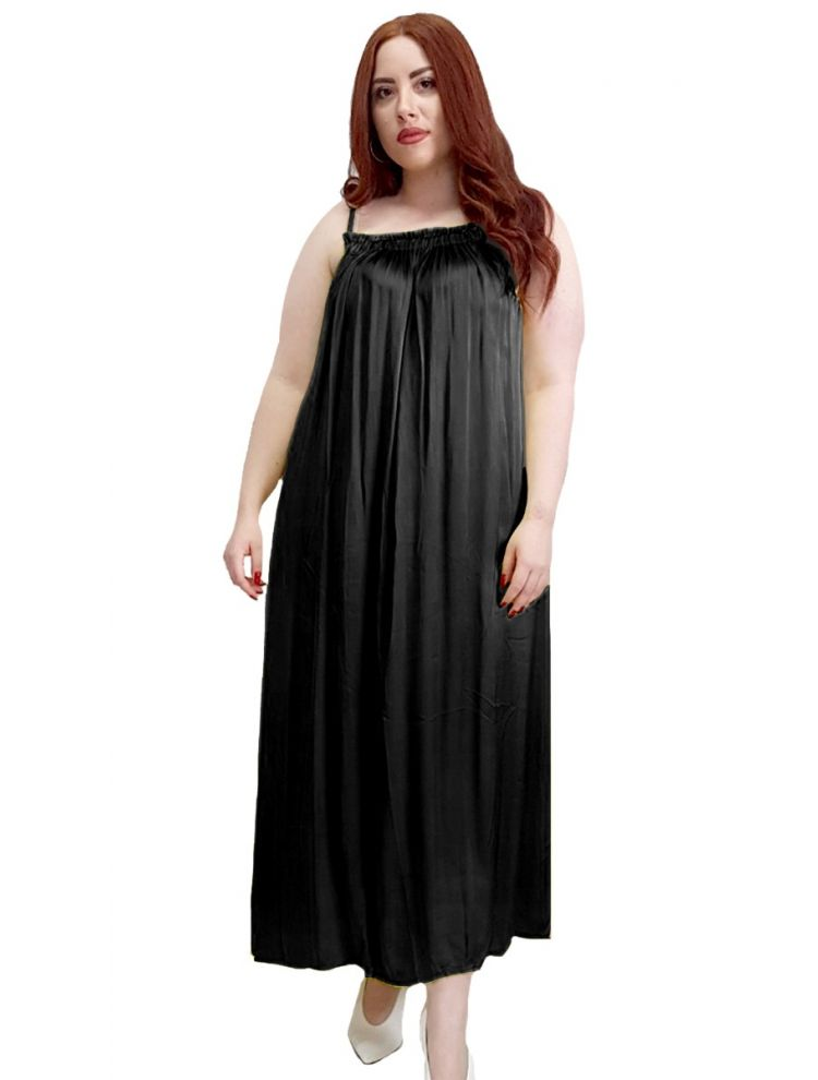 Satine Maxi Φόρεμα Ραντάκι ALURE-Μαύρο-One Size(up to L/XL)