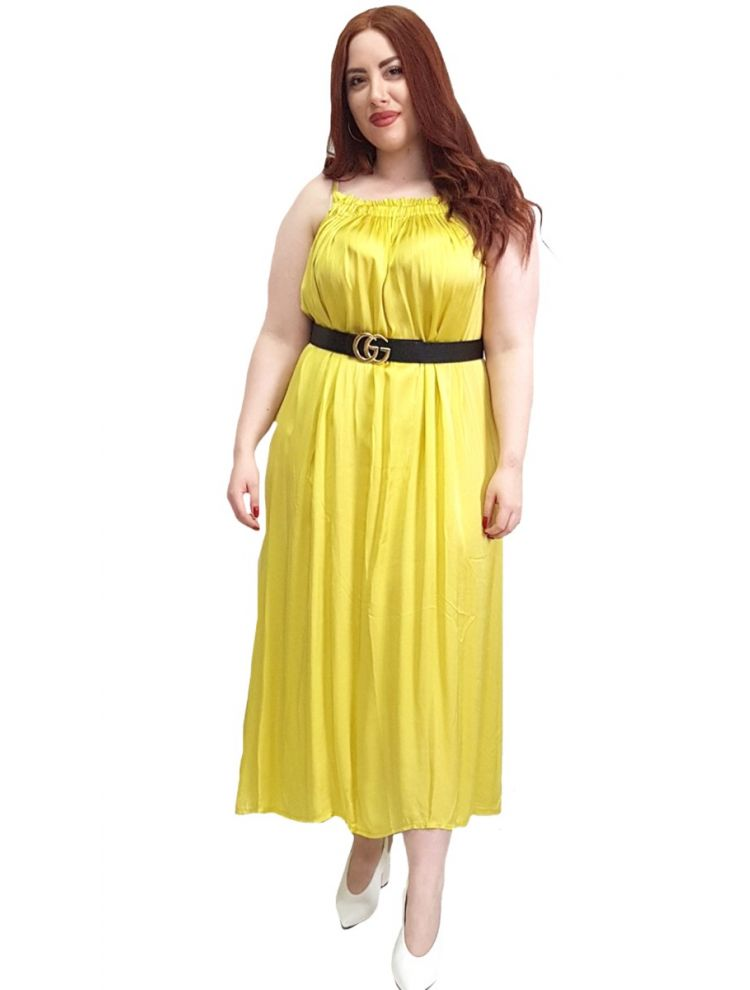 Satine Maxi Φόρεμα Ραντάκι ALURE-Μουσταρδί/Ώχρα-One Size(up to L/XL)