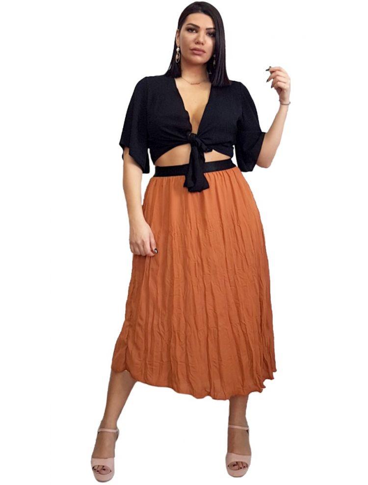 Αέρινη Maxi Φούστα με λάστιχο στη μέση -Μόκα-One Size(up to L/XL)