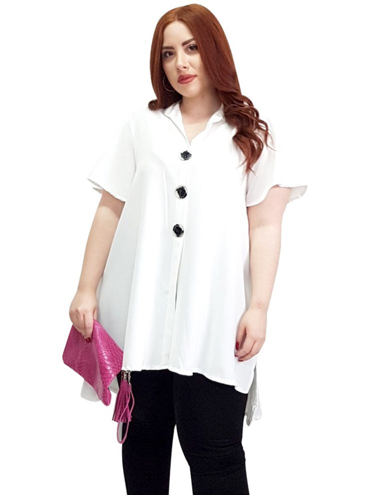 Τουνίκ πουκαμίσα Αέρινη με κουμπάκια -Άσπρο-One Size(up to 2XL)