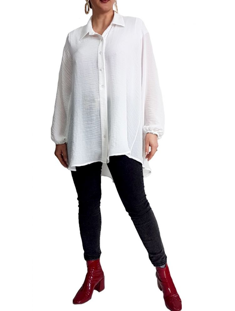 Oversized Silklike Πουκαμισα -Άσπρο-One Size(up to XL)