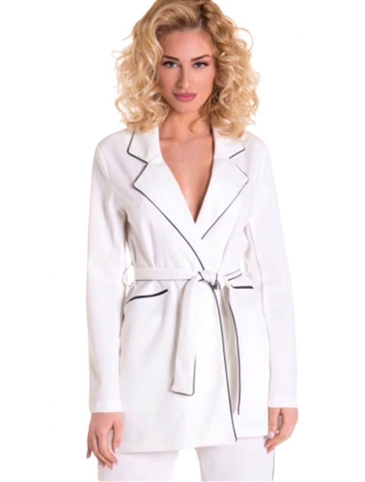 Σακάκι blazer με ρέλι λευκό και ζώνη