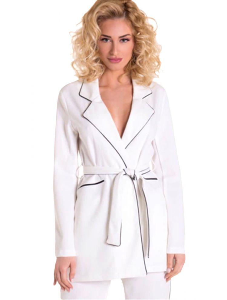 Σακάκι blazer με ρέλι λευκό και ζώνη -Άσπρο-S/M
