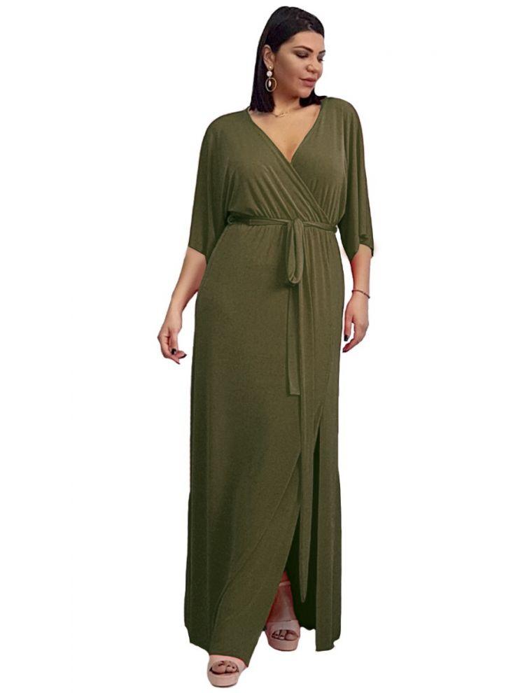 Κρουαζέ Φόρεμα με ζωνάκι και cut-out-Χακί-L/XL
