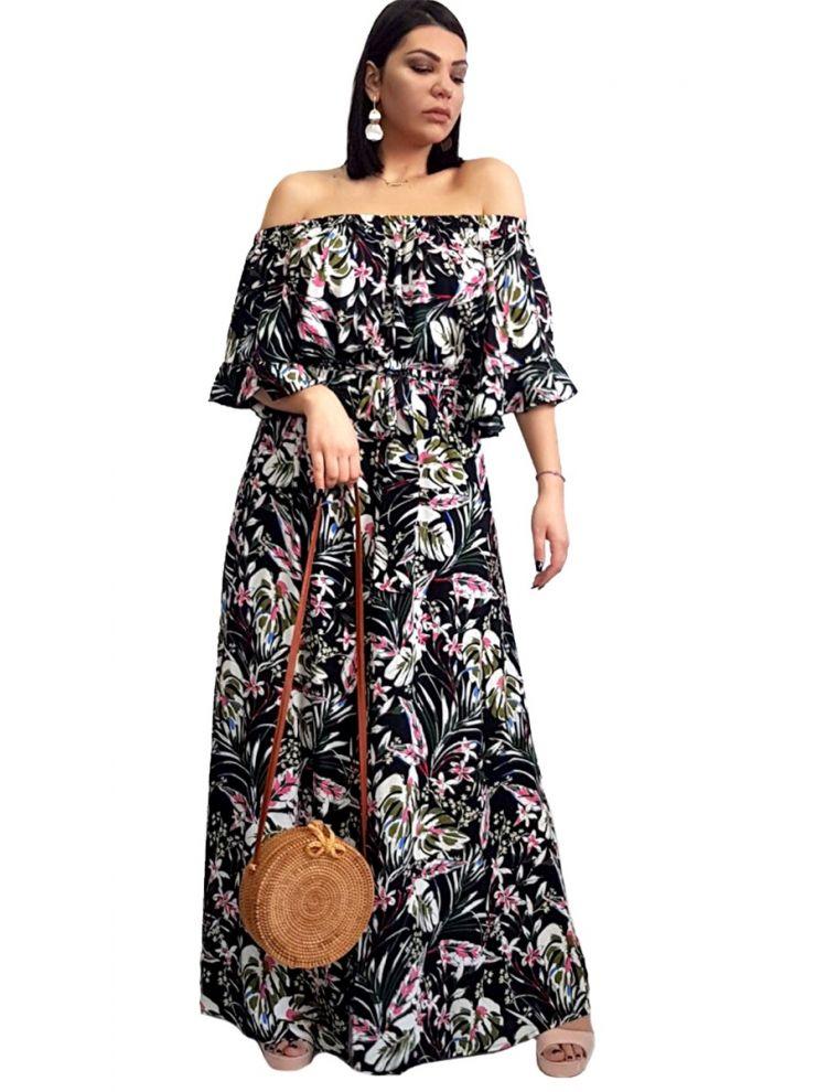 Strapless Φλοράλ Φόρεμα με μανίκια και cut-out-L/XL