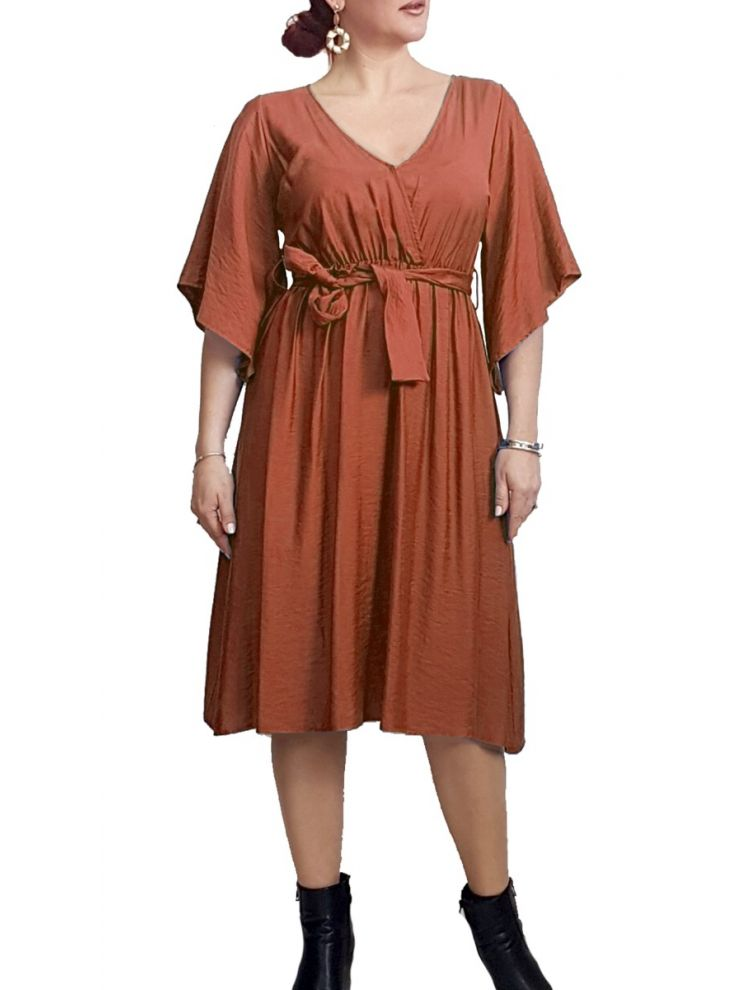 Midi Κρουαζέ φόρεμα με ζώνη-Μόκα-S/M