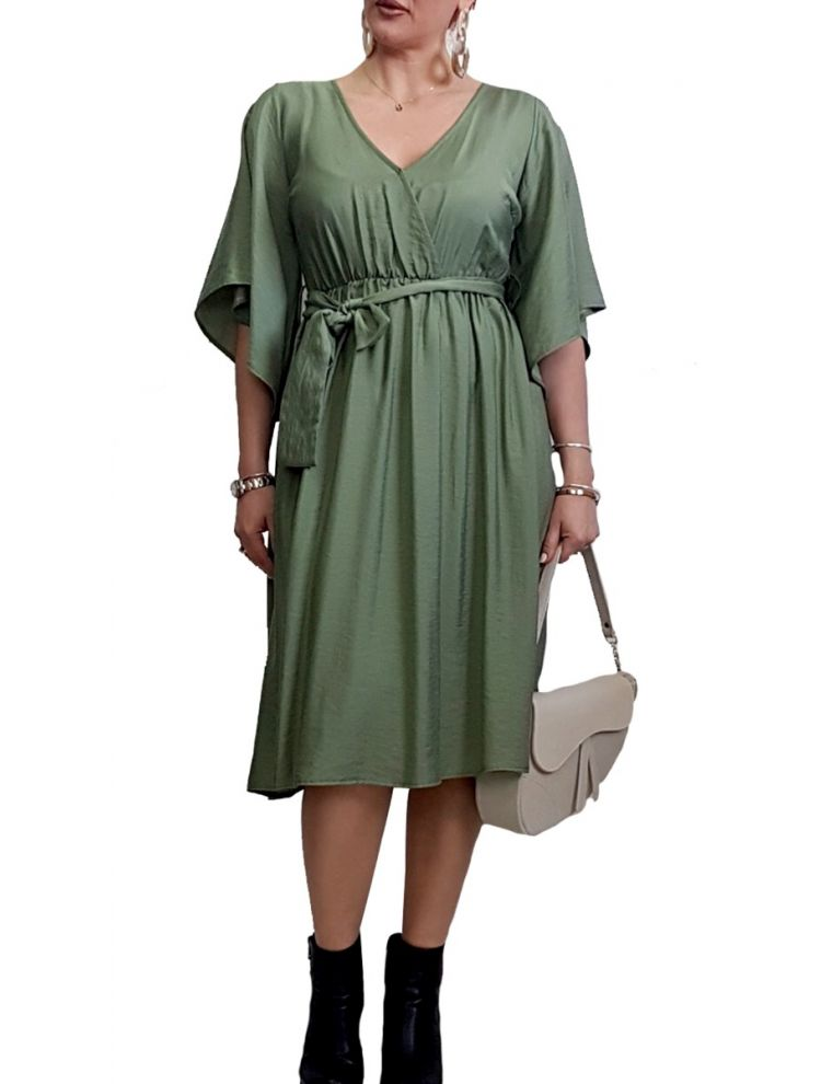 Midi Κρουαζέ φόρεμα με ζώνη-Χακί-S/M