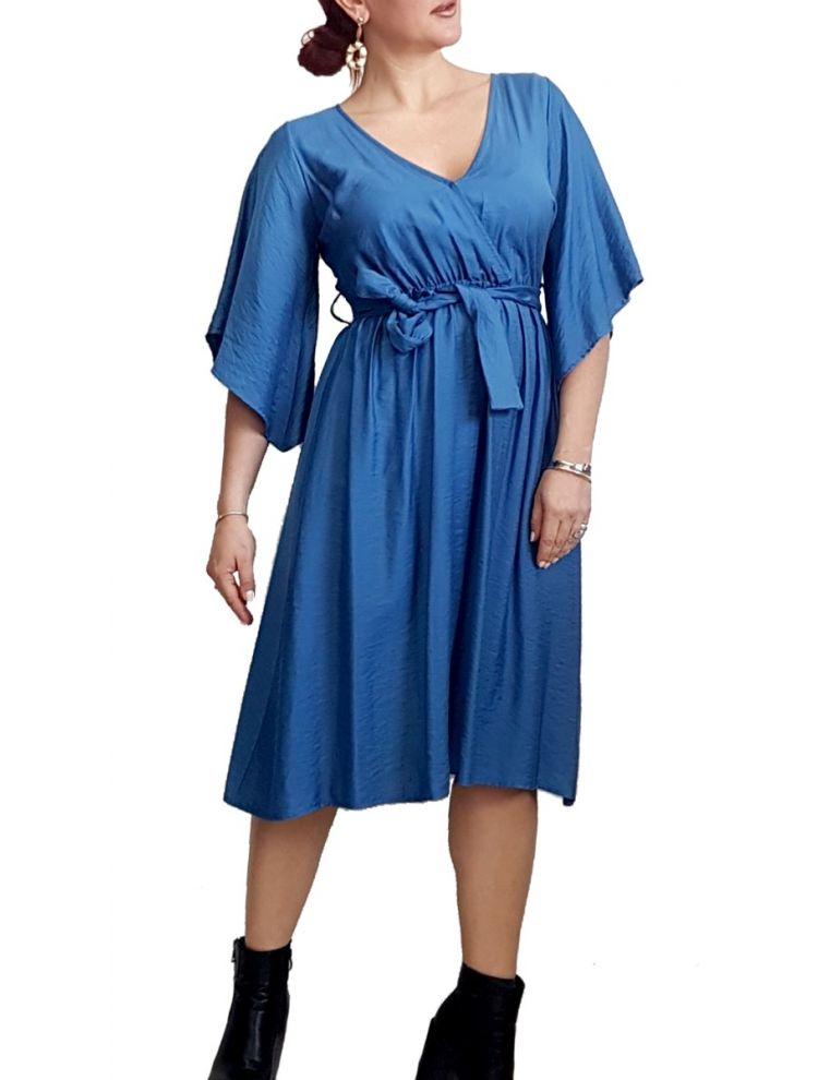 Midi Κρουαζέ φόρεμα με ζώνη-Μπλε-S/M