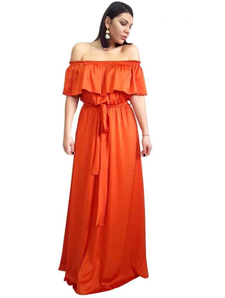 Strapless Φόρεμα με βολάν στο μπούστο-Πορτοκάλι-S/M