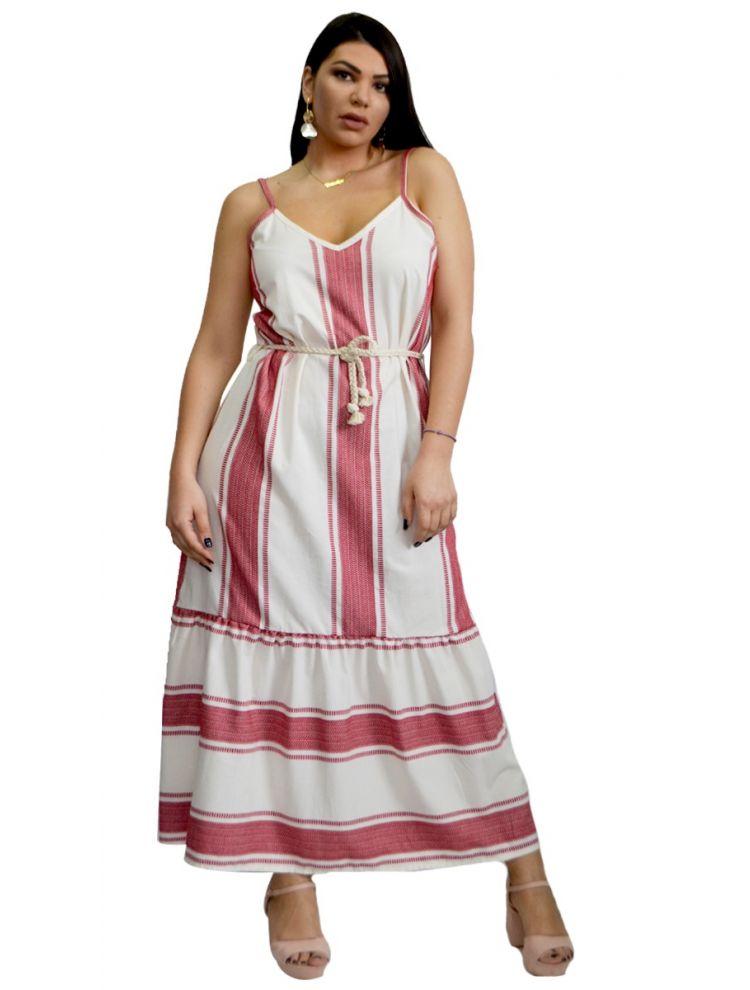 Boho Ριγέ Τιραντάκι Φόρεμα-Κόκκινο-S/M