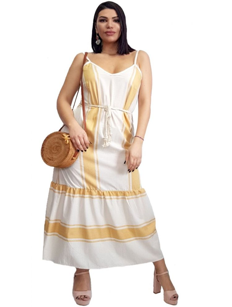 Boho Ριγέ Τιραντάκι Φόρεμα-Κίτρινο-S/M