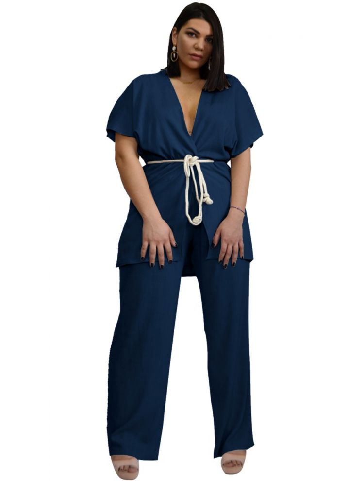 Σετ Σακάκι-Ζακέτα κοντομάνικο με Παντελόνα Λινό-OneSize upto 3XL-Μπλε