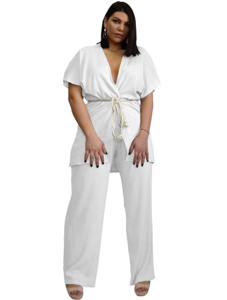 Σετ Σακάκι-Ζακέτα κοντομάνικο με Παντελόνα Λινό-OneSize upto 3XL-Άσπρο