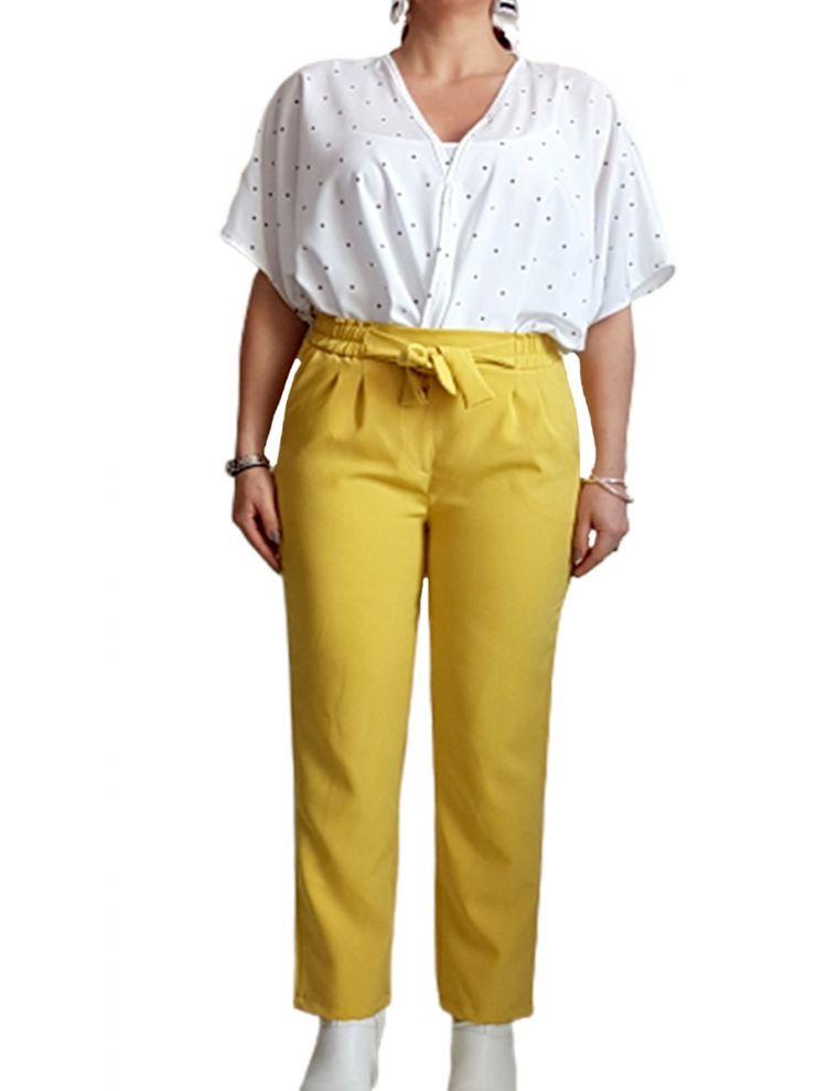 Γυναικείο ψηλόμεσο  παντελόνι με ζώνη και τσέπες-Κίτρινο-S(48)