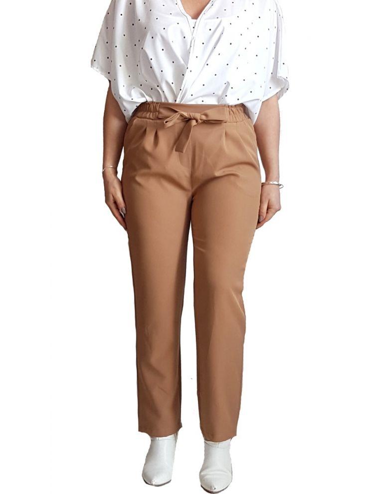 Γυναικείο ψηλόμεσο  παντελόνι με ζώνη και τσέπες-Καμηλό -S(48)