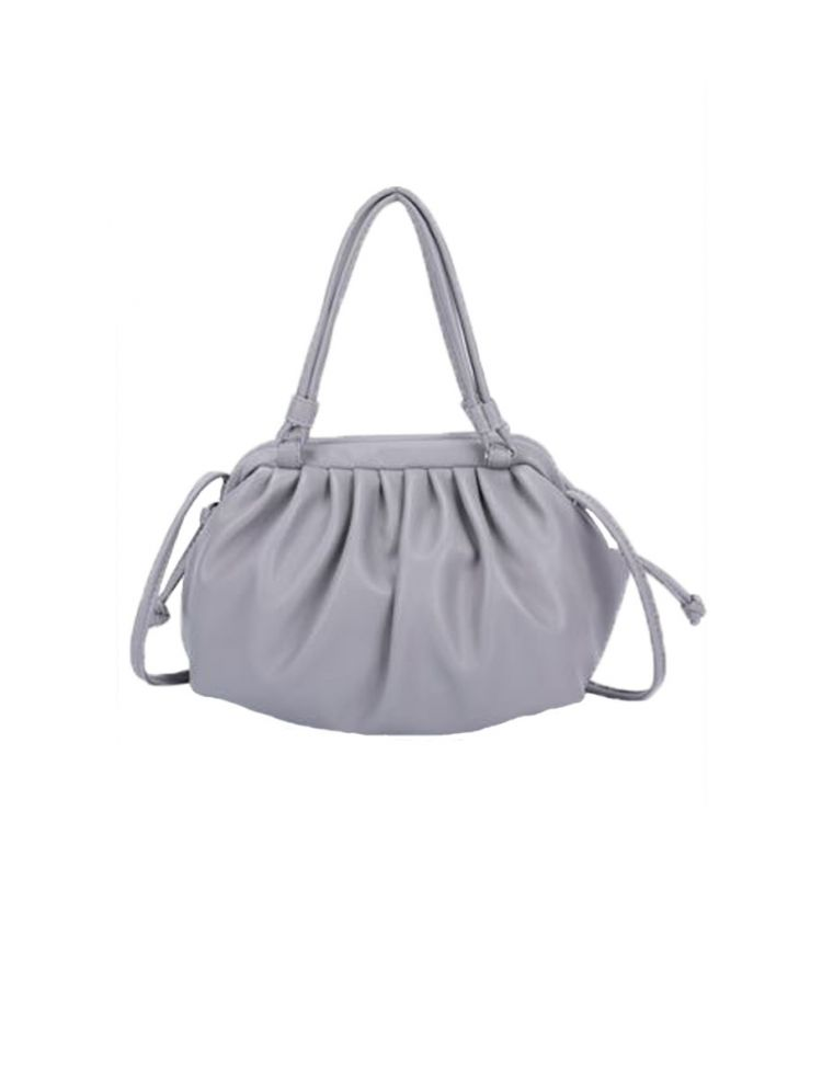 Μονόχρωμη Τσάντα με Σούρες Rosie-Γκρι