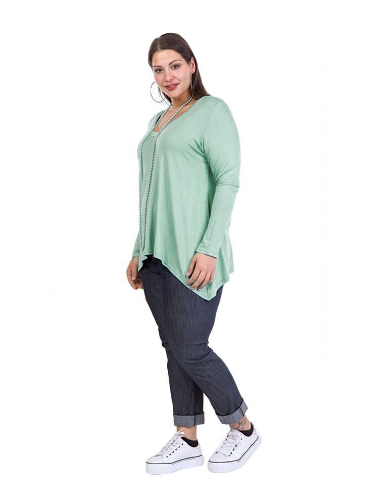 Ασύμμετρη μπλούζα με μακρύ μανίκι