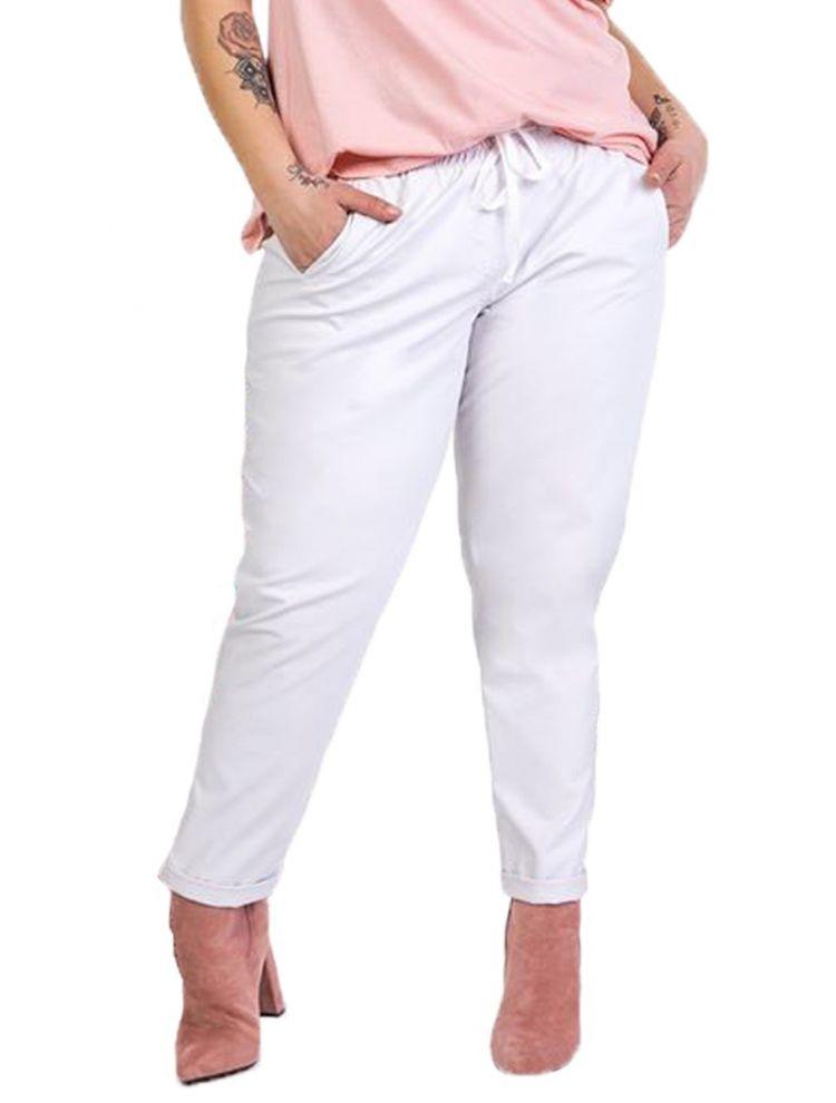 Μονόχρωμο δερματίνη παντελόνι-Άσπρο-L/XL