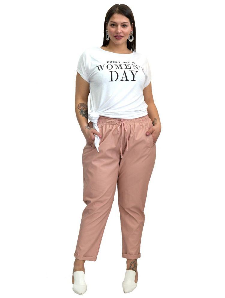 Μονόχρωμο δερματίνη παντελόνι-Ροζ-L/XL
