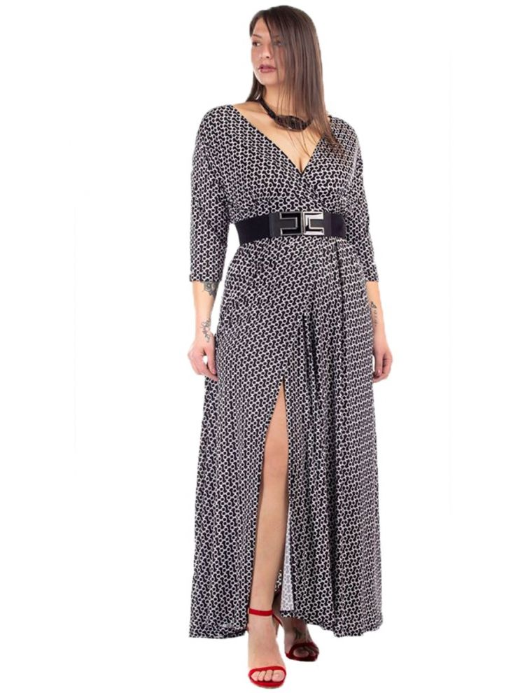 Maxi Geo Φόρεμα με Βαθύ Σκίσιμο
