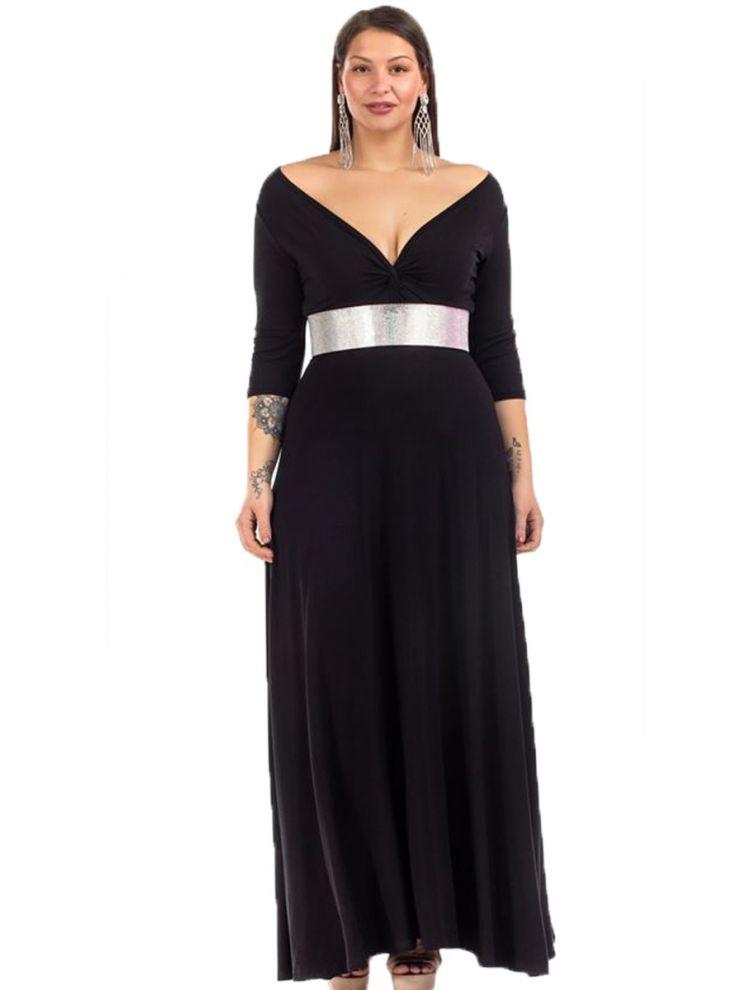 Μονόχρωμο Maxi Φόρεμα με V και Σούρα στο Στήθος