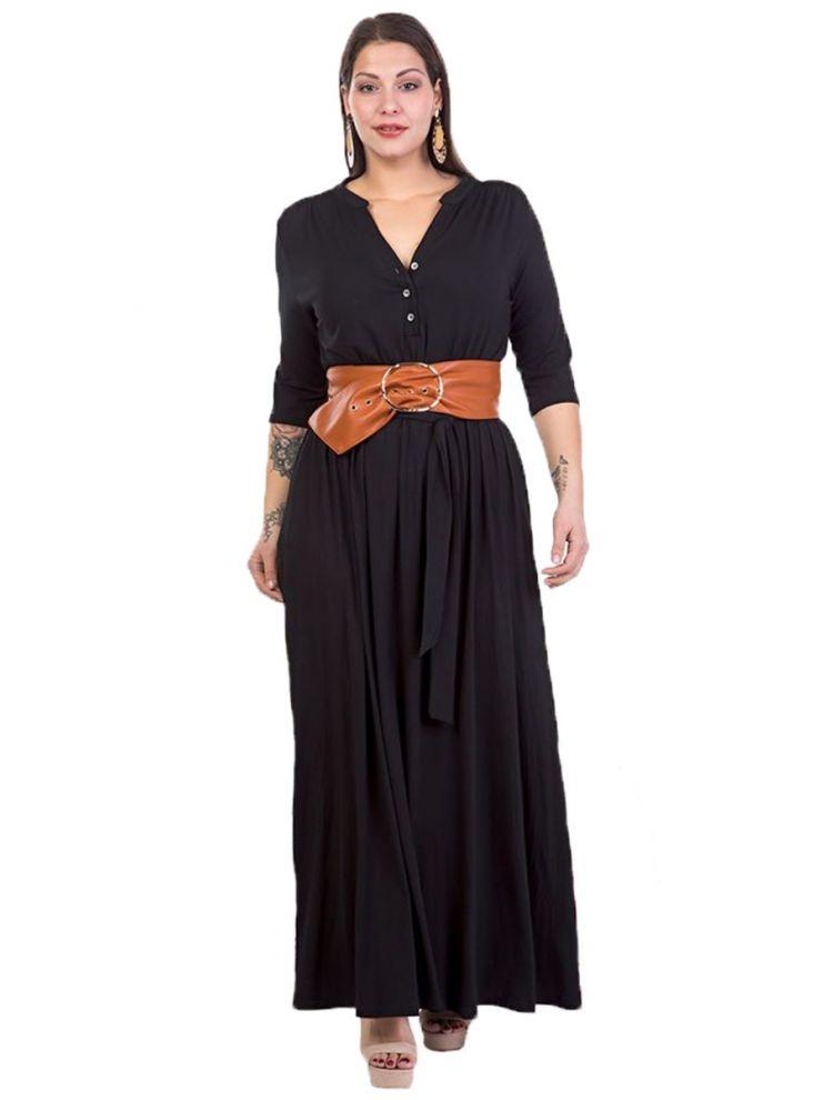 Μονόχρωμο μακρύ φόρεμα με κουμπάκια