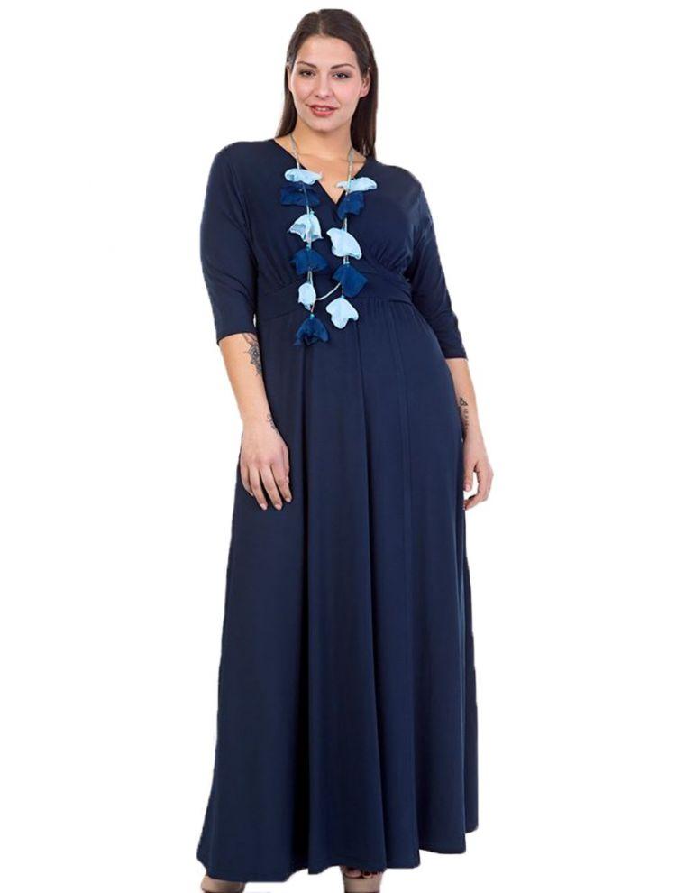 Μάξι Μονόχρωμο Φόρεμα με Δέσιμο στη Μέση-Μπλε-S/M