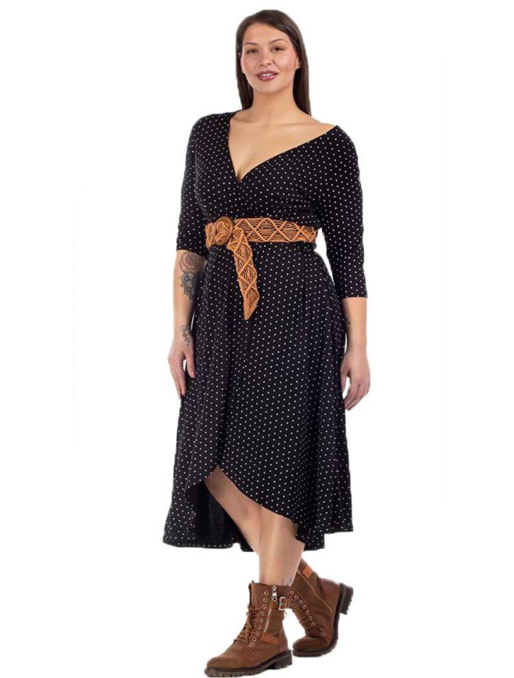 Ασύμμετρο Πουά Φόρεμα με V στο Στήθος
