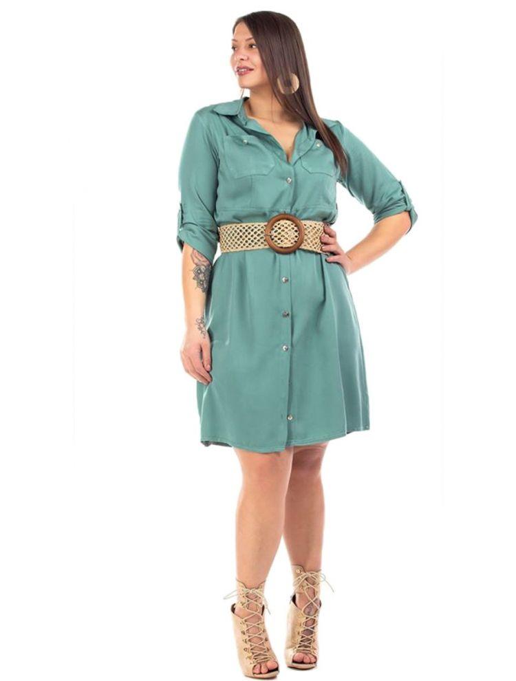 Μονόχρωμο Midi Φόρεμα-Πουκάμισο με Τσέπες και Κουμπιά