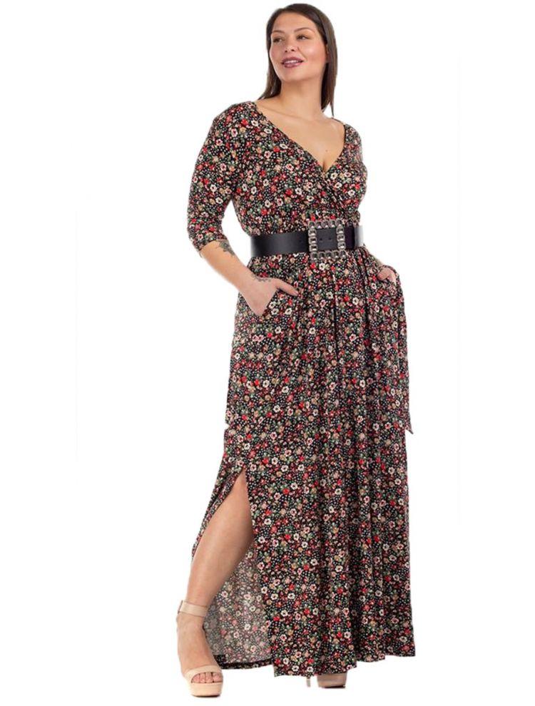 Maxi Floral Φόρεμα με Σκίσιμο και V στο Στήθος