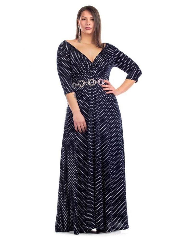 Maxi Πουά Φόρεμα με V και Σούρα στο Στήθος