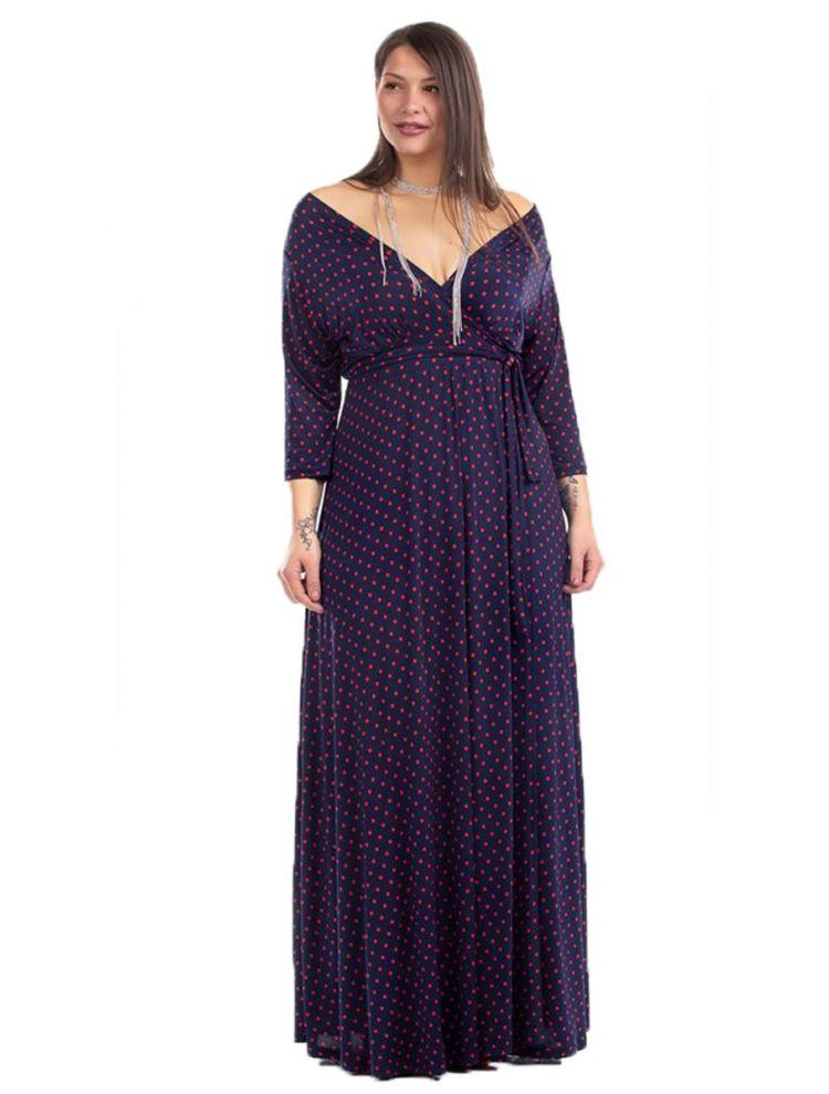Maxi Πουά Φόρεμα με V στο Στήθος και Δέσιμο στη Μέση