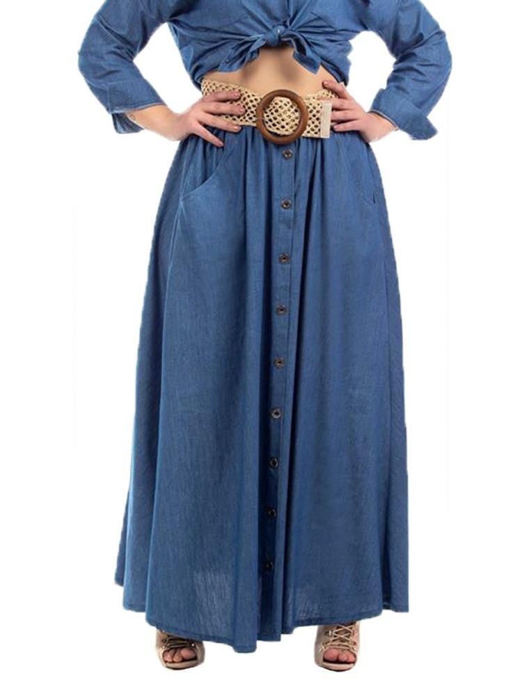 Denim Maxi Φούστα με Τσέπες και Κουμπιά
