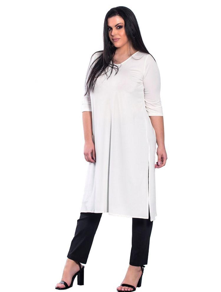 Μονόχρωμη μπλούζα με άνοιγμα στο πλάι