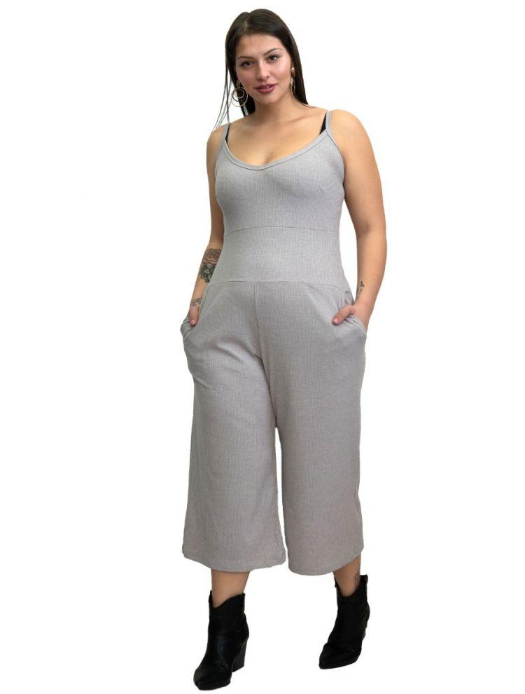 Μονόχρωμη  Oλόσωμη zip culotte -L/XL-Γκρι