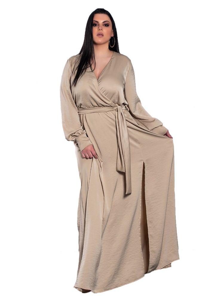 Μονόχρωμο maxi φόρεμα με ζώνη και σκίσιμο