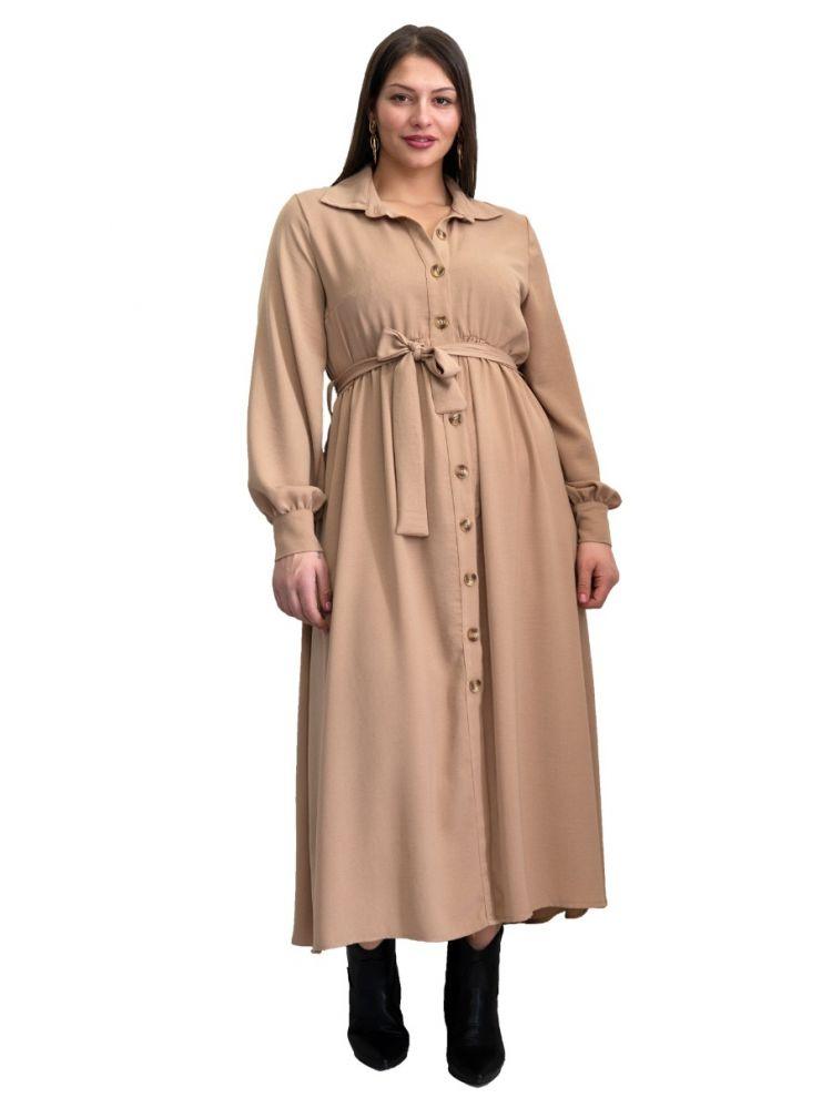 Maxi φόρεμα με κουμπιά και ζώνη Areti