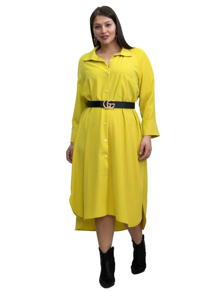 Μάξι μονόχρωμη πουκαμίσα Lydia-Κίτρινο-OneSize(up to 2XL)
